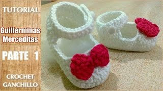 getlinkyoutube.com-DIY Como tejer escarpines, merceditas, guillerminas a crochet, ganchillo (parte 1/2)