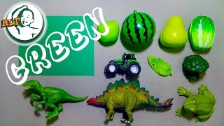getlinkyoutube.com-Learn color green with common toys!