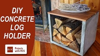 getlinkyoutube.com-DIY Concrete Log Holder - Firewood Holder