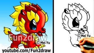 getlinkyoutube.com-How to Draw a Dragon - Chinese Dragon - Cute Drawings - Art Lessons - Fun2draw