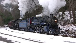 getlinkyoutube.com-R&N 425 and CNJ 113 Double Header Steam - Minersville Santa Claus Train Rides 2014