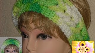 "getlinkyoutube.com-Повязка на голову  с узором ""коса""  The bandage on his head with a pattern of ""Spit"""