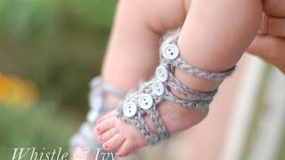 getlinkyoutube.com-Baby Gladiator Barefoot Sandals Crochet Pattern
