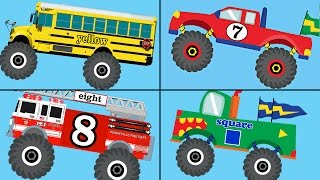 getlinkyoutube.com-Monster Trucks Teaching Collection Vol. 1 - Learn Colors, Colours, Numbers & Shapes