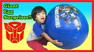 getlinkyoutube.com-GIANT EGG SURPRISE OPENING TRANSFORMER Optimus Prime Batman Imaginext Robot Ryan ToysReview