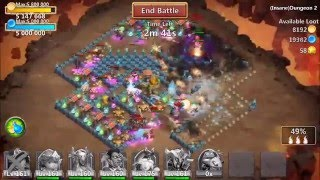 getlinkyoutube.com-Castle Clash: Insane Dungeons 1 & 2 Completed Without a Minotaur, Santa, or Mage!!!