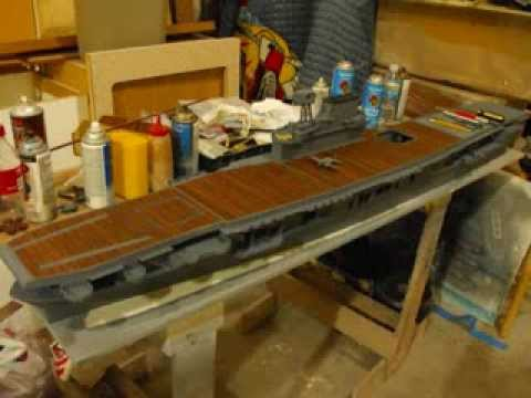 Model Ship Scratchbuilt 1/144 scale Yorktown Class Carrier USS Enterprise CV-6