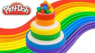 getlinkyoutube.com-Play-Doh How to Make a Rainbow Tier Cake * Creative DIY for Kids * RainbowLearning