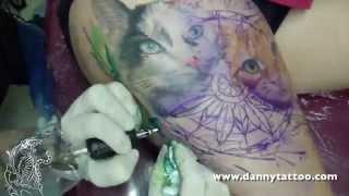 getlinkyoutube.com-Gatos Realistas com fundo de Aquarela - Danny Tattoo - TimeLapse (Realistic Cat with Watercolor)