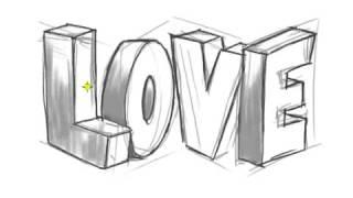 getlinkyoutube.com-كيفية رسم كلمة love ثلاثية الابعاد