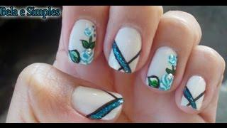 getlinkyoutube.com-Rosas Azul com Glitter Manual Bela e Simples Nail Art
