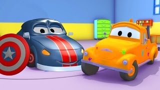 Tom the Tow truck's Paint Shop : Mat the Police Car is Captain America Superheroes Cartoon for Kids