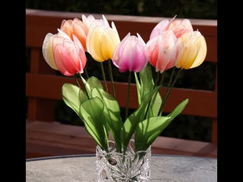 Mother's Day idea, How to Make Nylon Flower (Stocking flower Tulip) - Handmade, DIY