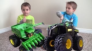 getlinkyoutube.com-John Deere MONSTER TRUCK Tractor RUMBLE Toys in action!