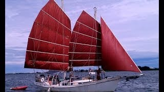 getlinkyoutube.com-1987 Colvin Gazelle Steel Schooner - Junk Rig Sailboat
