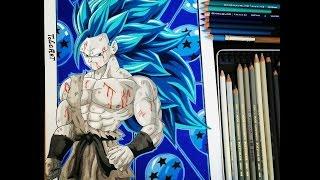 getlinkyoutube.com-Drawing Goku SSGSS (SSJ3 Style) - TolgArt