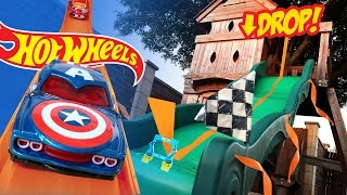getlinkyoutube.com-Hot Wheels Long Jump Challenge ft Marvel Superheroes Hot Wheels Cars