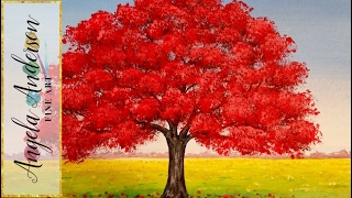 getlinkyoutube.com-How to Paint Red Oak Tree Fall Landscape | Full Length Live Acrylic Painting Tutorial | Free Lesson