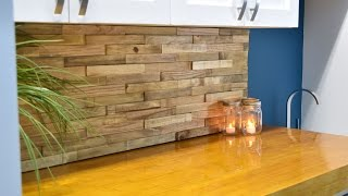 getlinkyoutube.com-Backsplash From Reclaimed Pallets | DIY Build
