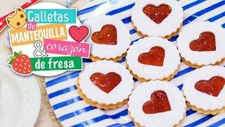 getlinkyoutube.com-Galletas de mantequilla con corazón de fresa | Recetas navideñas | Quiero Cupcakes!
