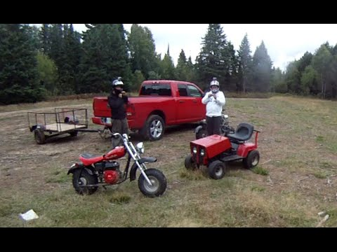 2 minibikes and a fast tractor romp