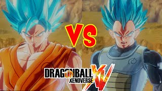 getlinkyoutube.com-Dragon Ball Xenoverse : Goku SSGSS VS Vegeta SSGSS - DLC - (DLC Pack 3)
