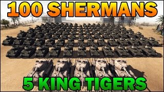 getlinkyoutube.com-Men of War Assault Squad 2 - 100 SHERMANS vs 5 KING TIGERS - Editor Scenario #5