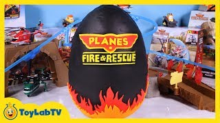 GIANT Planes Fire & Rescue Play Doh Surprise Egg with SpongeBob Big Hero 6 Minecraft Spiderman Toys