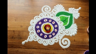 getlinkyoutube.com-Simple, Easy and Quick Rangoli design with colours for Diwali