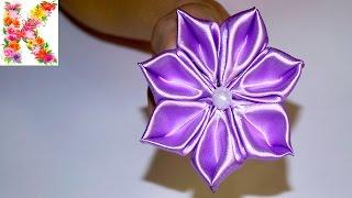 getlinkyoutube.com-Канзаши мастер клас,для начинающих своими руками. DIY kanzashi tutorial flowers