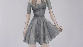 getlinkyoutube.com-HOW TO DRAW a girl in a black dress