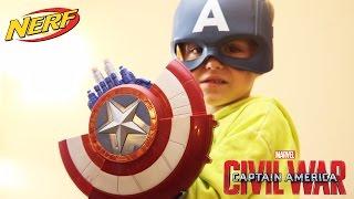 getlinkyoutube.com-Captain America Shield NERF Gun Toy - CIVIL WAR