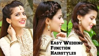 3 EASY Hairstyles For Indian Wedding Occasions For Medium Hair  / Indian Party Heatless Hairstyles