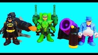 getlinkyoutube.com-Imaginext Batman Penguin and Green Arrow have a Launcher Battle Joker Riddler Robin included