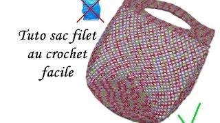 getlinkyoutube.com-TUTO SAC SHOPPING FILET AU CROCHET FACILE Crochet mesh bag easy