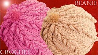 getlinkyoutube.com-Como tejer a Crochet o Ganchillo gorro boina en punto de hojas dobles en relieve