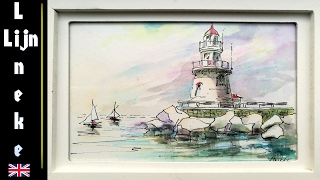 getlinkyoutube.com-How to draw a Lighthouse with Watercolor pencils #5