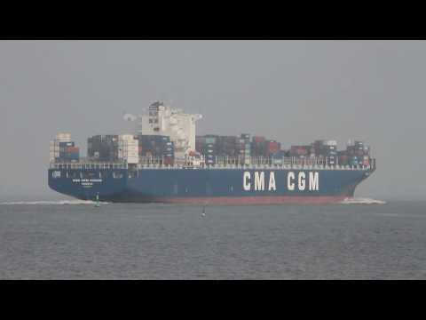 Click to view video CMA CGM IVANHOE - IMO 9365805 - Germany - Elbe - Otterndorf