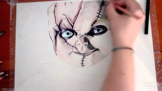 getlinkyoutube.com-Speed Drawing - Curse Of Chucky, La Maledizione Di Chucky - Time Lapse