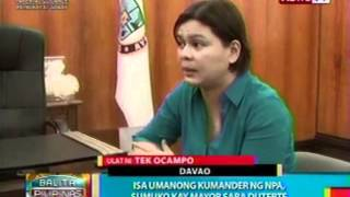 BP: Isa umanong kumander ng NPA,   sumuko kay Mayor Sara Duterte