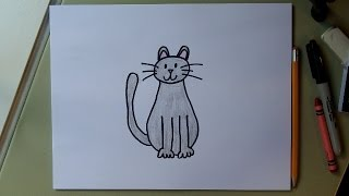 getlinkyoutube.com-How to draw a cat!  Easy drawing tutorial for kids.