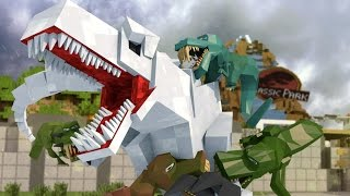 getlinkyoutube.com-Minecraft | Good vs Evil - JURASSIC WORLD: Dinosaur Extinction! (Indominous Rex vs T-REx)