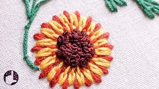 getlinkyoutube.com-Stitching|Embroidery Tutorial | Long and Short Stitch | Beautiful Flower | HandiWorks #26