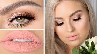 Вечерний макияж с блестками и матовыми нюдовыми губами