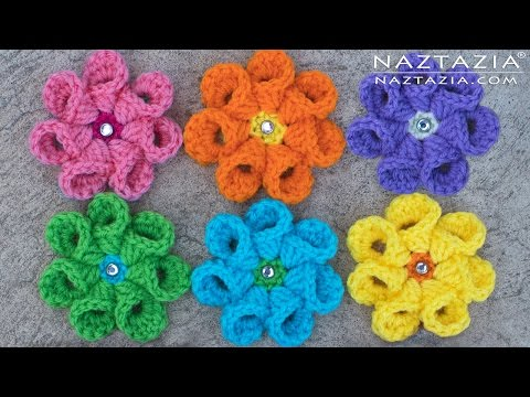 Crochet Bell Petal Flower - Right & Left Hand - DIY Tutorial for Flowers Flor Flores