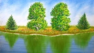 getlinkyoutube.com-How to draw landscape with trees and reflection on water - Time Lapse - Pastel Painting