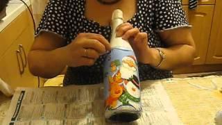 getlinkyoutube.com-Декупаж бутылки шампанского