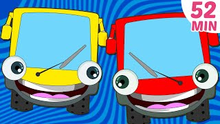 getlinkyoutube.com-Wheels on The Bus Plus More Nursery Rhymes Collection | 52 Minutes Compilation by HooplaKidz