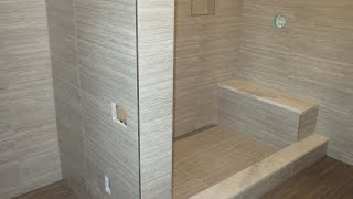 getlinkyoutube.com-Start to finish Time lapse  Schluter  bathroom Kerdi-line linear drain Ditra heat large format tile.