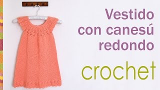 getlinkyoutube.com-Vestido con canesú redondo tejido a crochet para niñas / Crocheted round yoke dress for girls